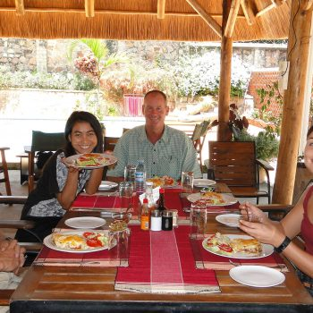 Enjoying lunch at the Entebbe Palm hotel